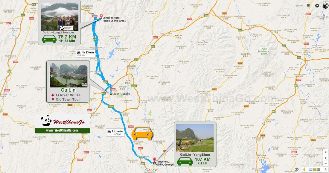 Guilin YANGSHUO Tour Map