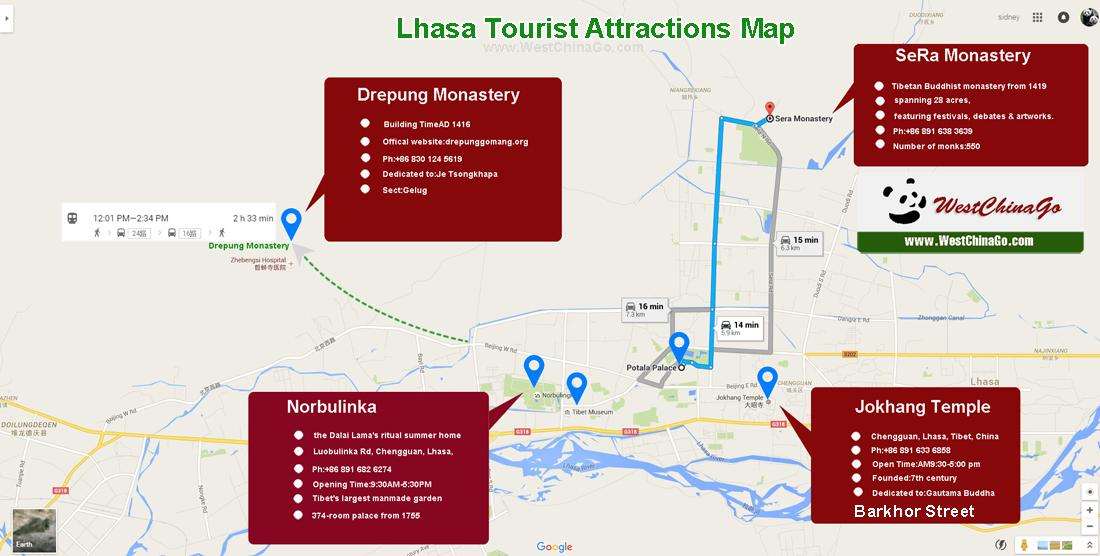 tibet lhasa tourist attractions map