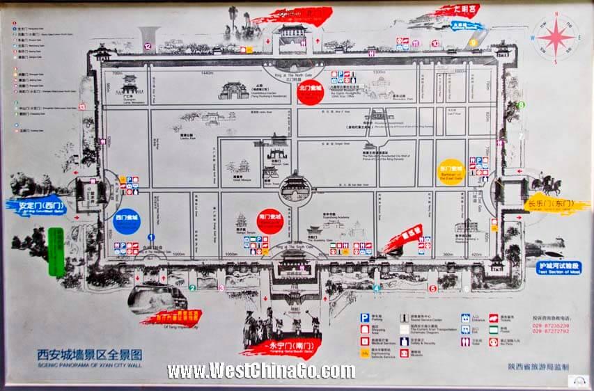 xian city wall tour map