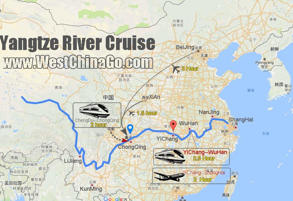 yangtze river cruise tour map