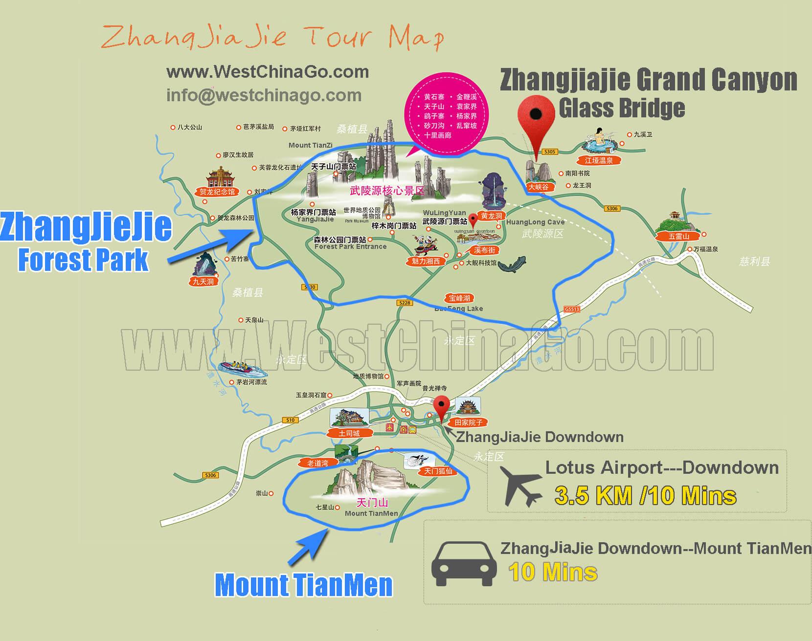 zhangjiajie tour map