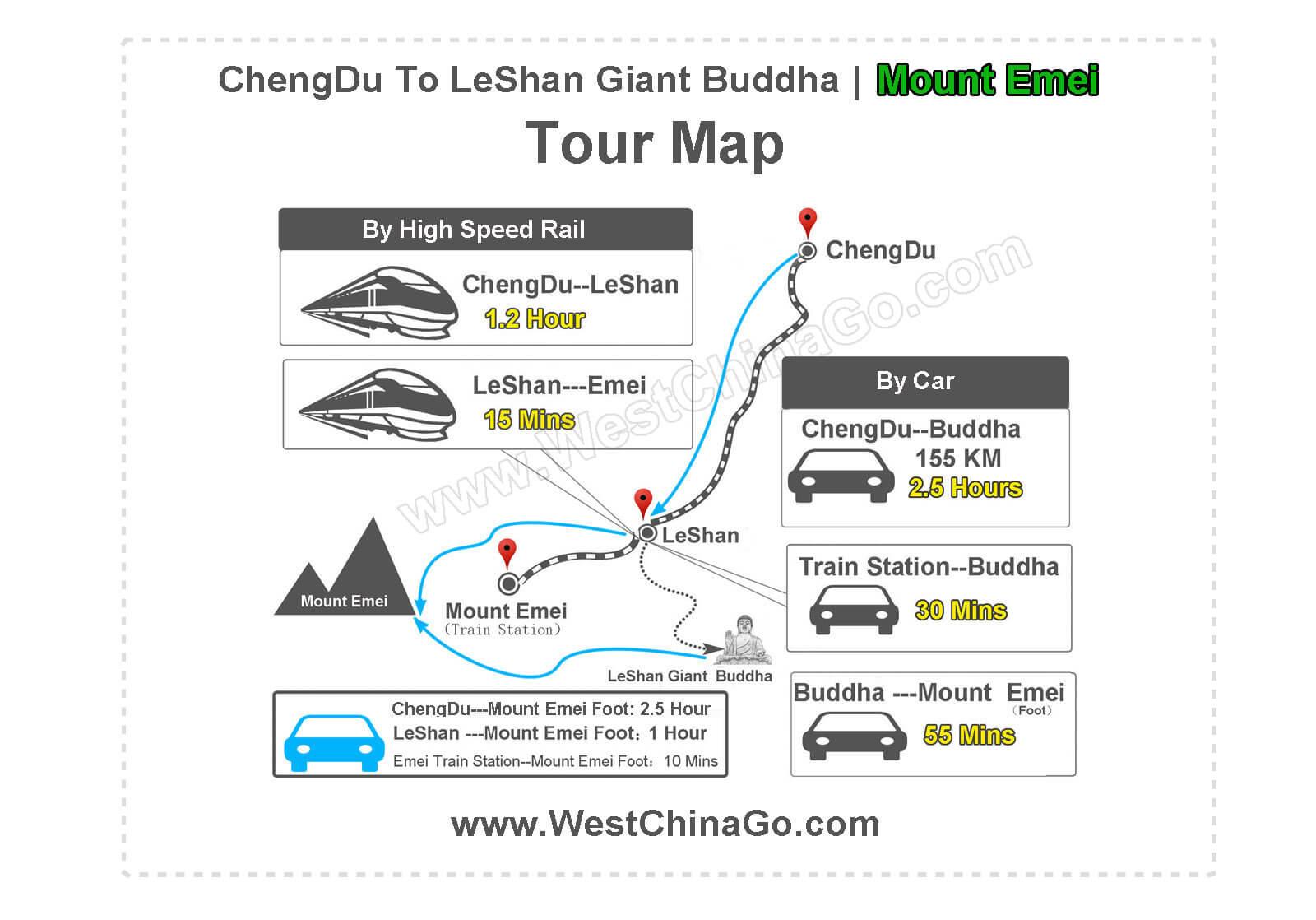 leshan buddha tourist map from chengdu