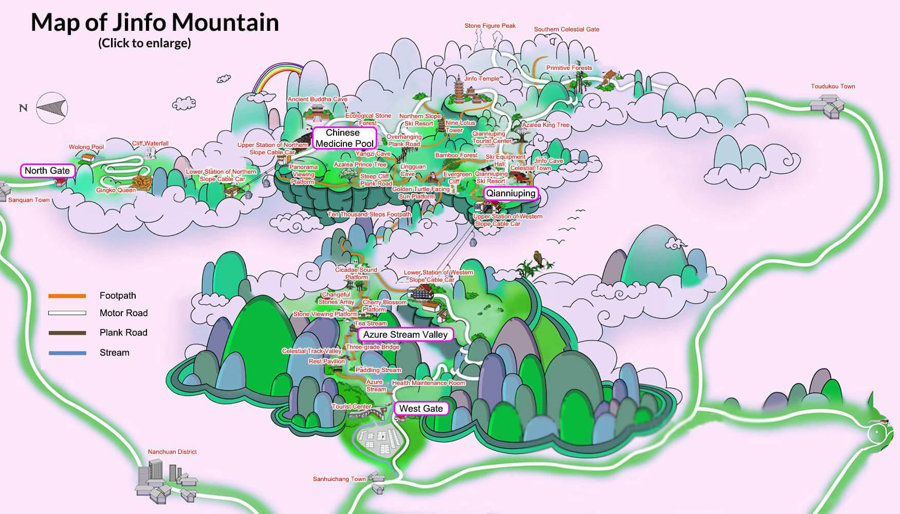 chongqing mount jinfo map