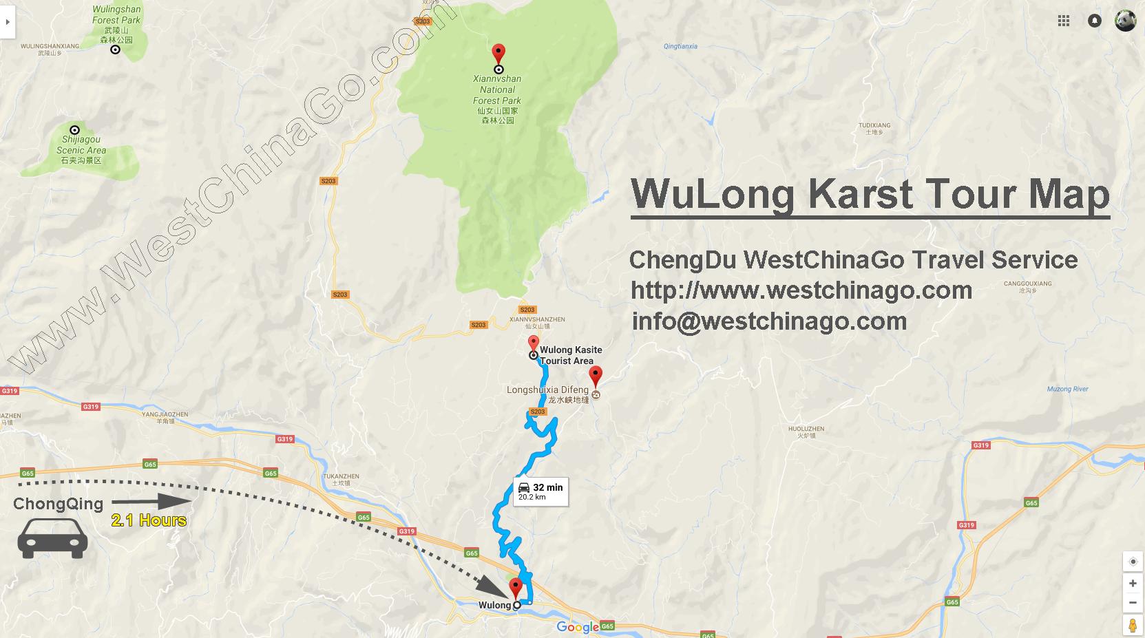 chongqing wulong tour map