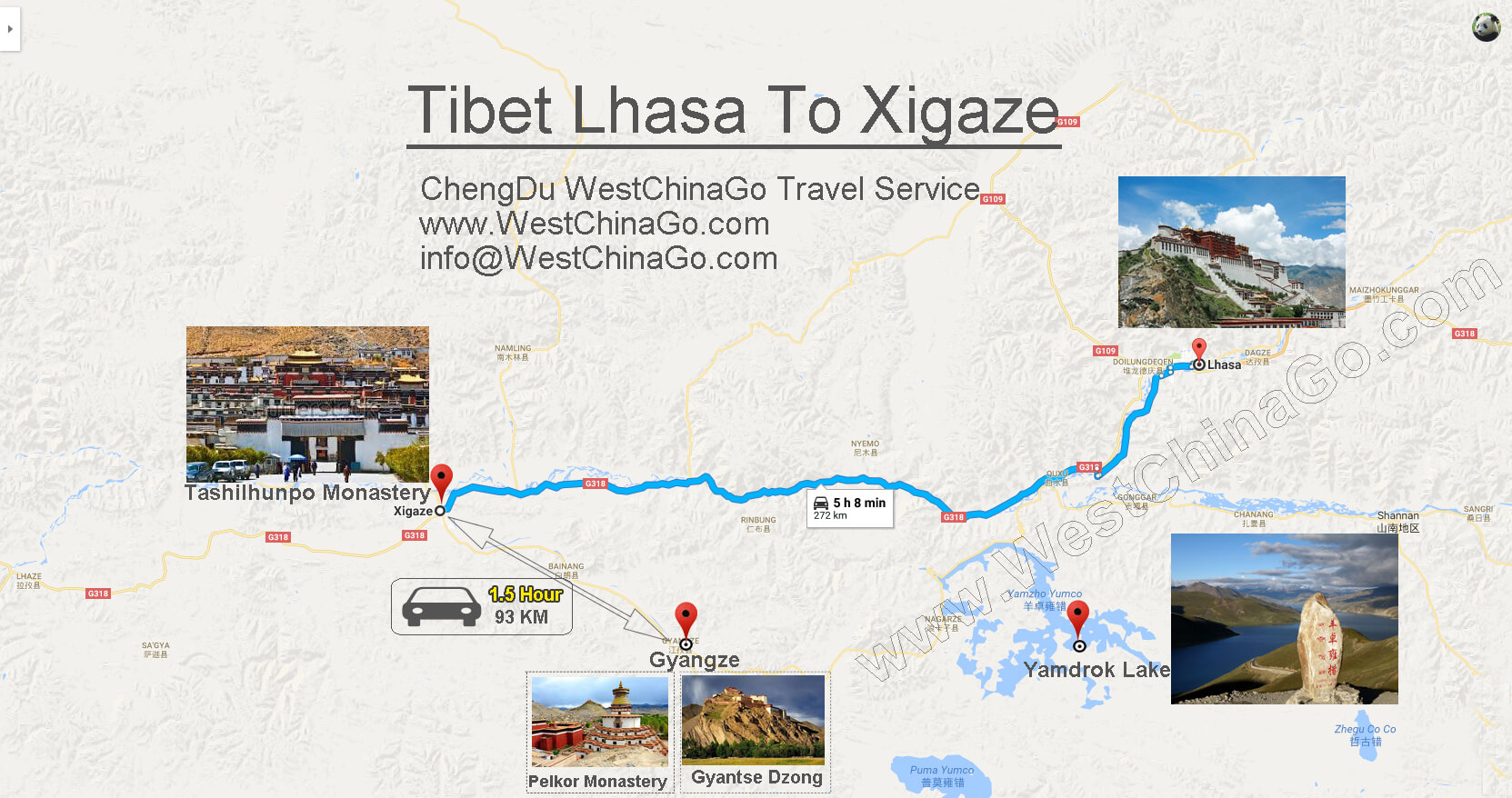 chengdu China to Lhasa Tibet China  tour map