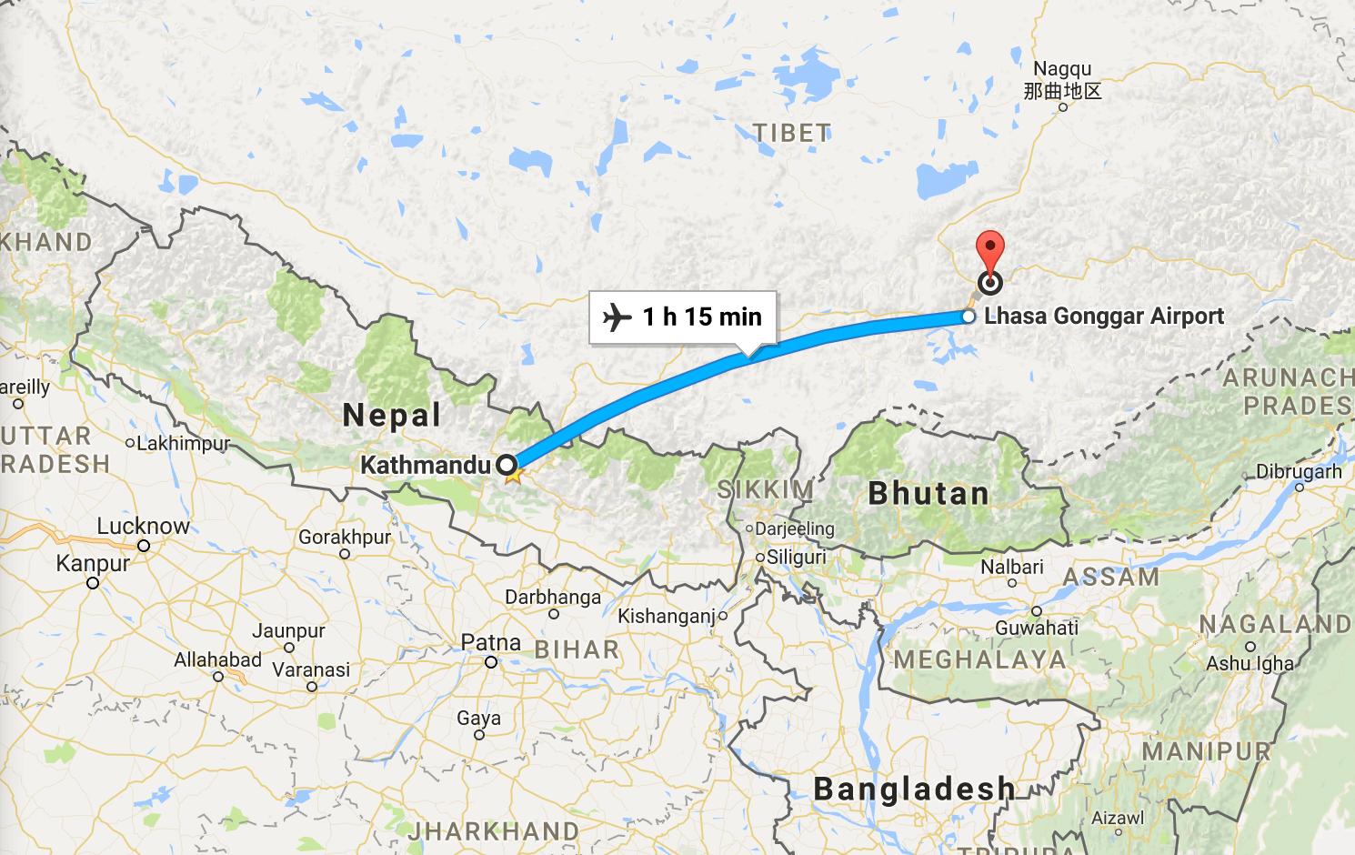 Tibet Tour Map