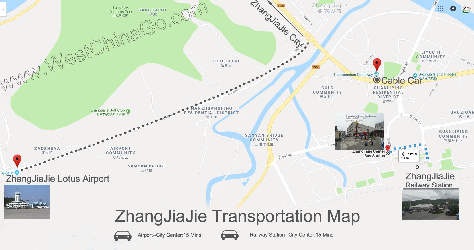 zhangjiajie transportation map