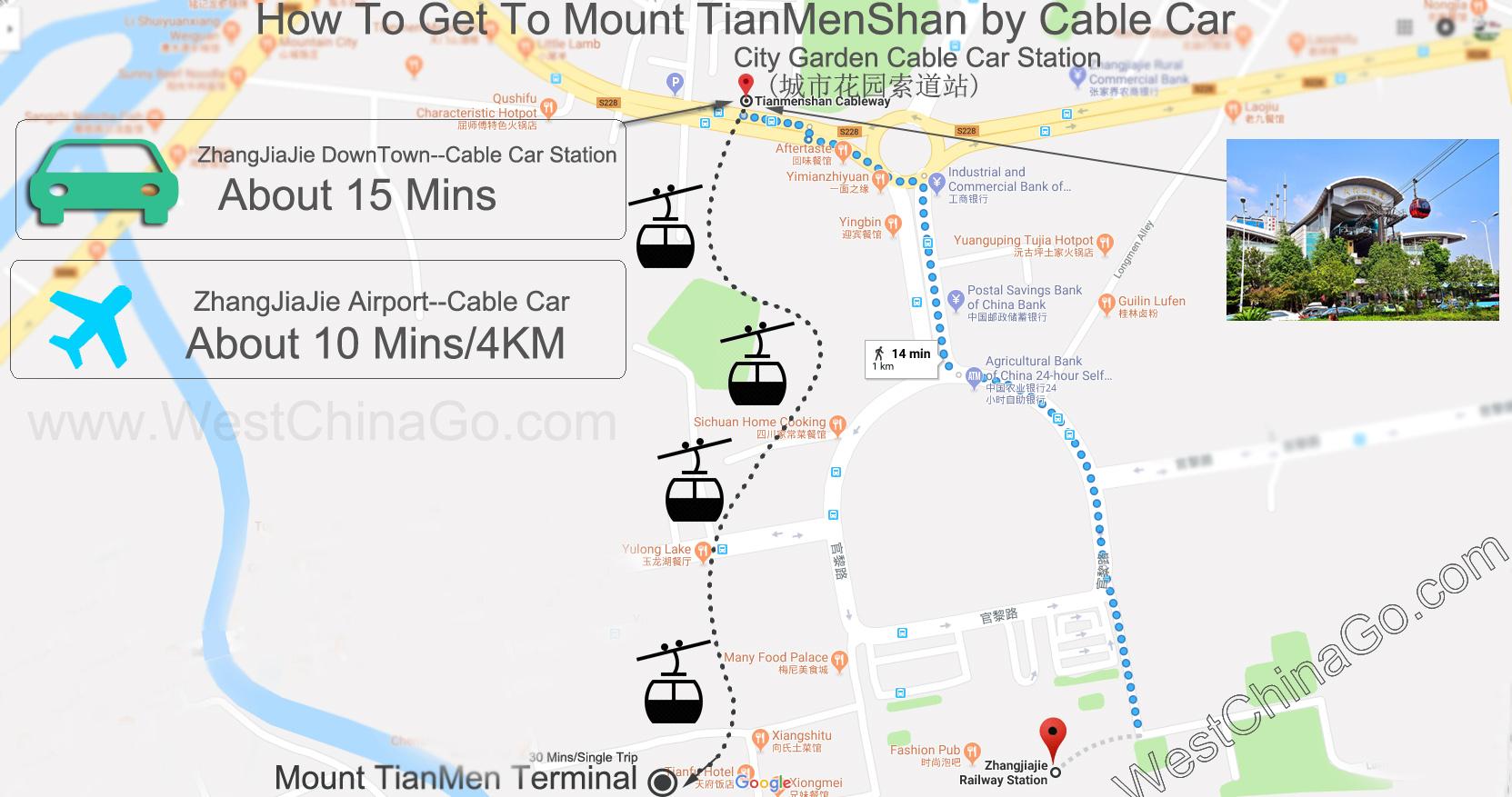 zhangjiajie cable car map