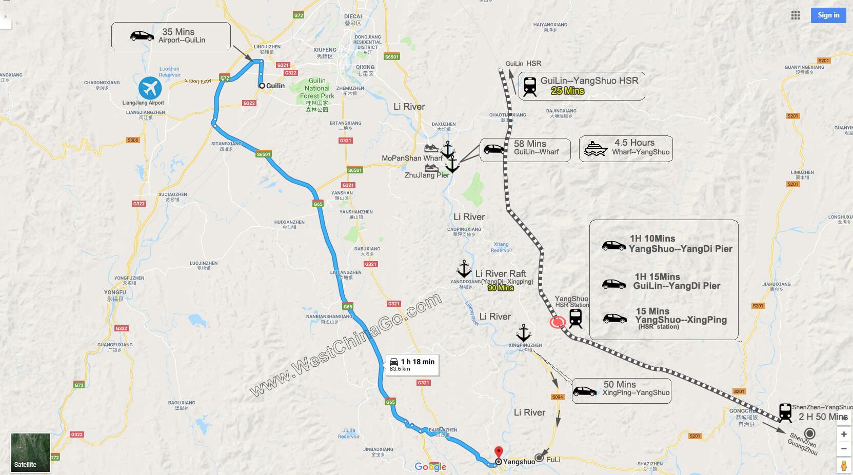 GuiLin to yangshuo tour map