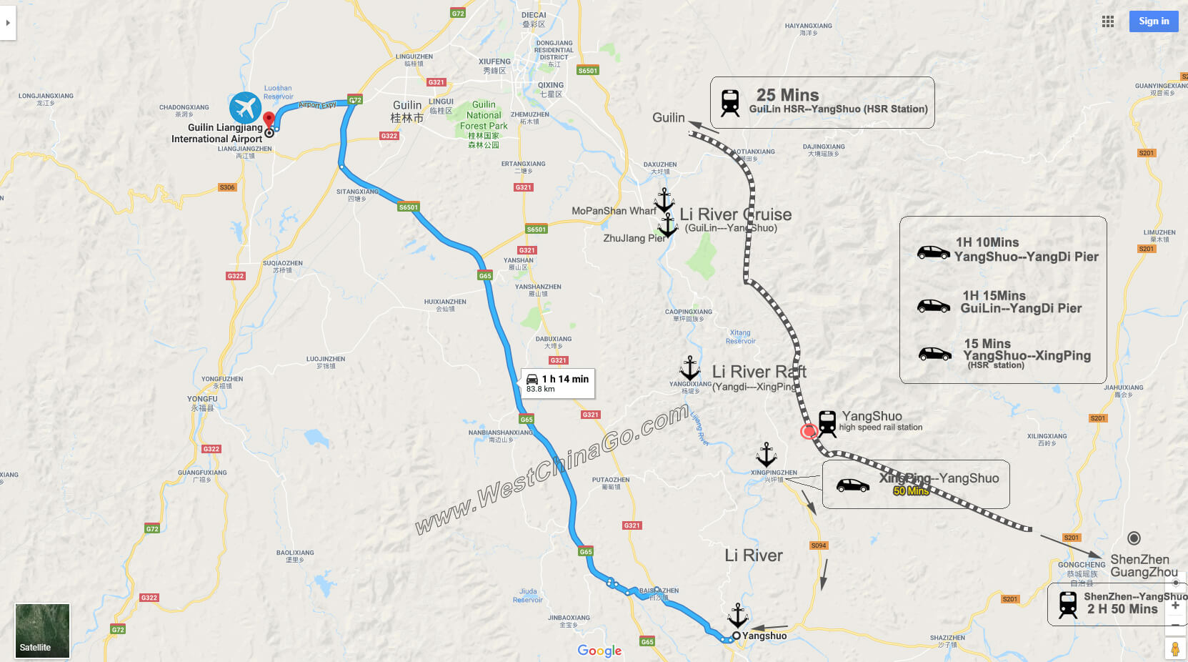yangshuo to guilin airport tour map