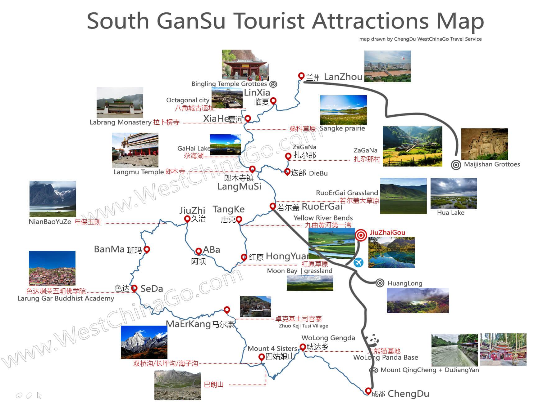 gansu tourist map