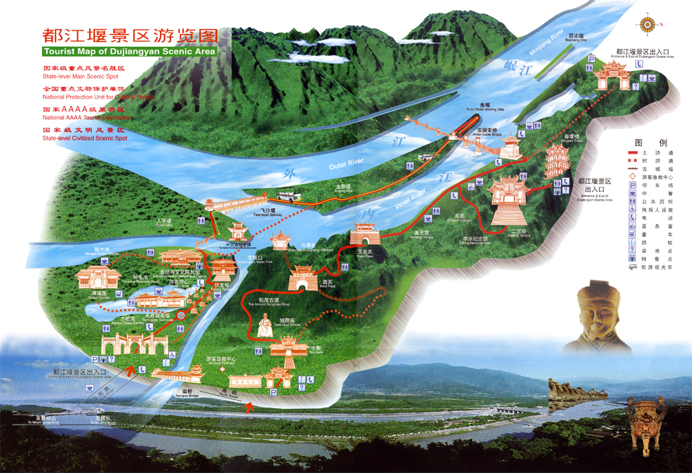 DuJiangYan Irrigation System Tourist Map