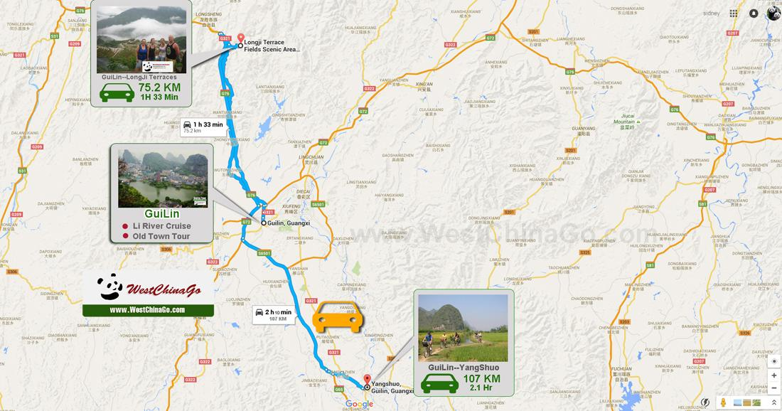 Guilin YANGSHUO Tour Map