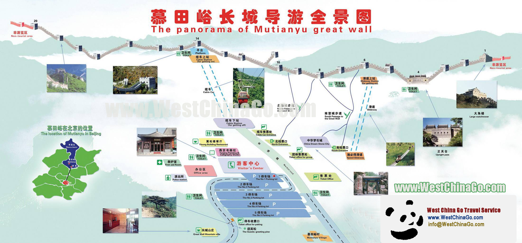 beijing mutianyu great wall Tour Map