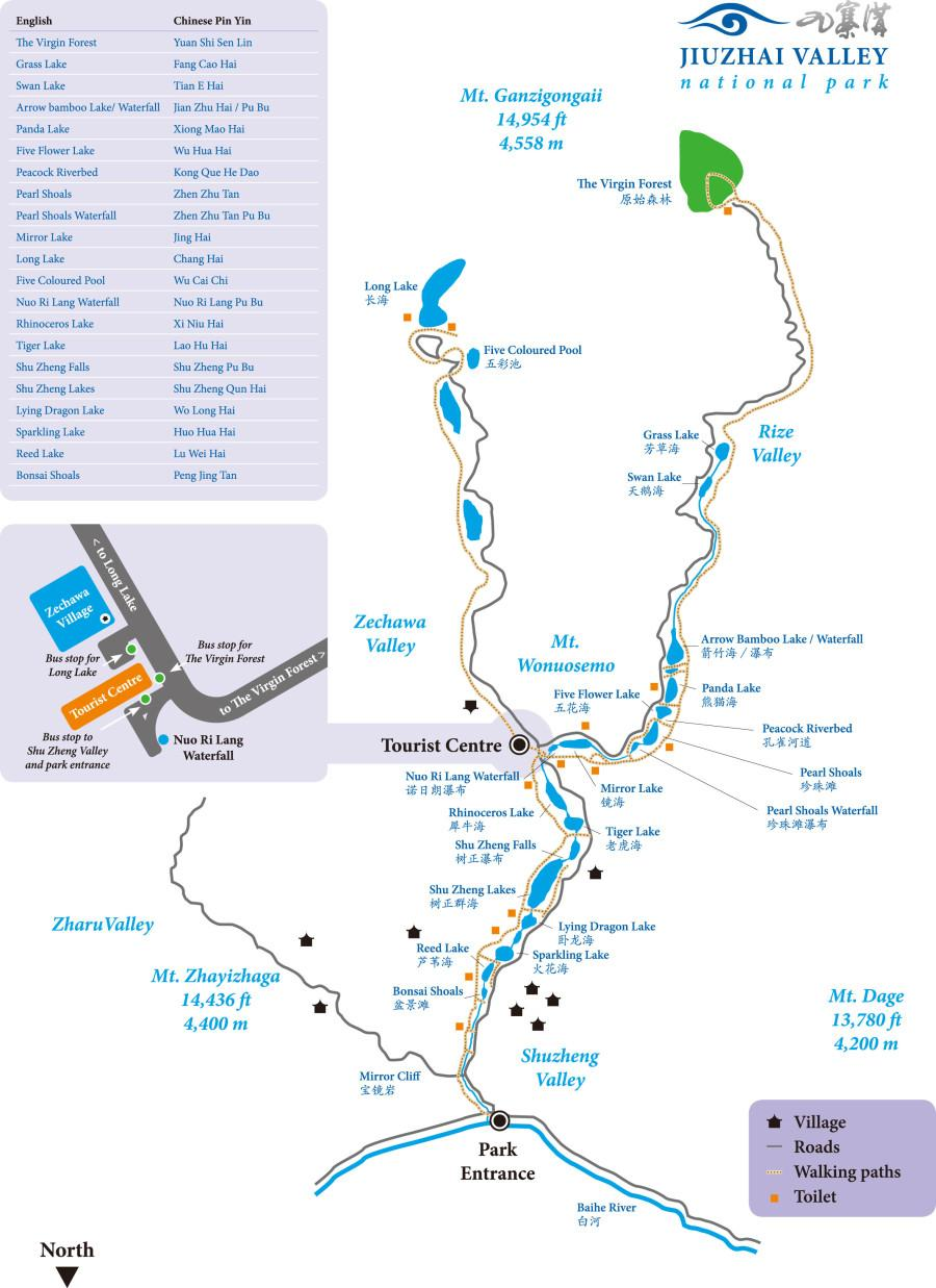 jiuzhaigou tour map