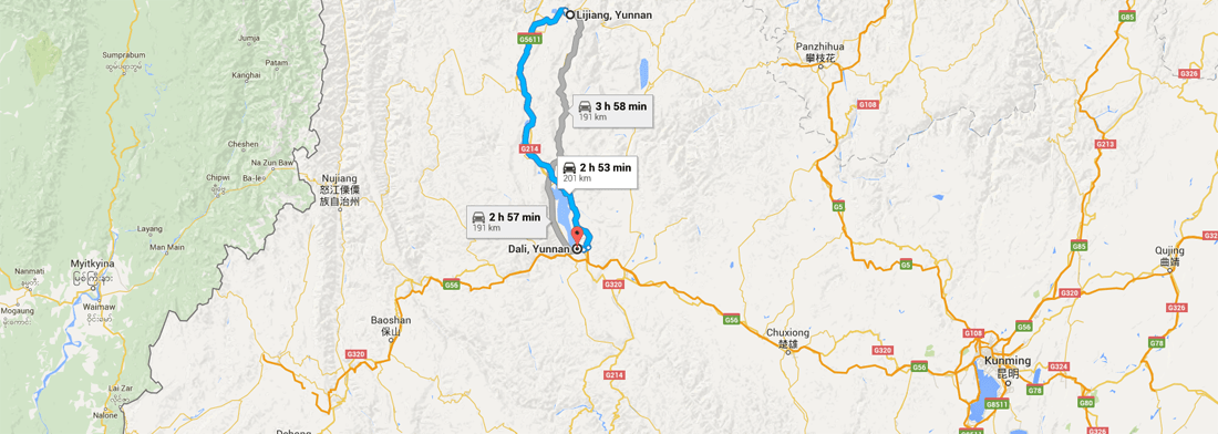 Lijiang Yunnan China to Dali Yunnan China tour Maps