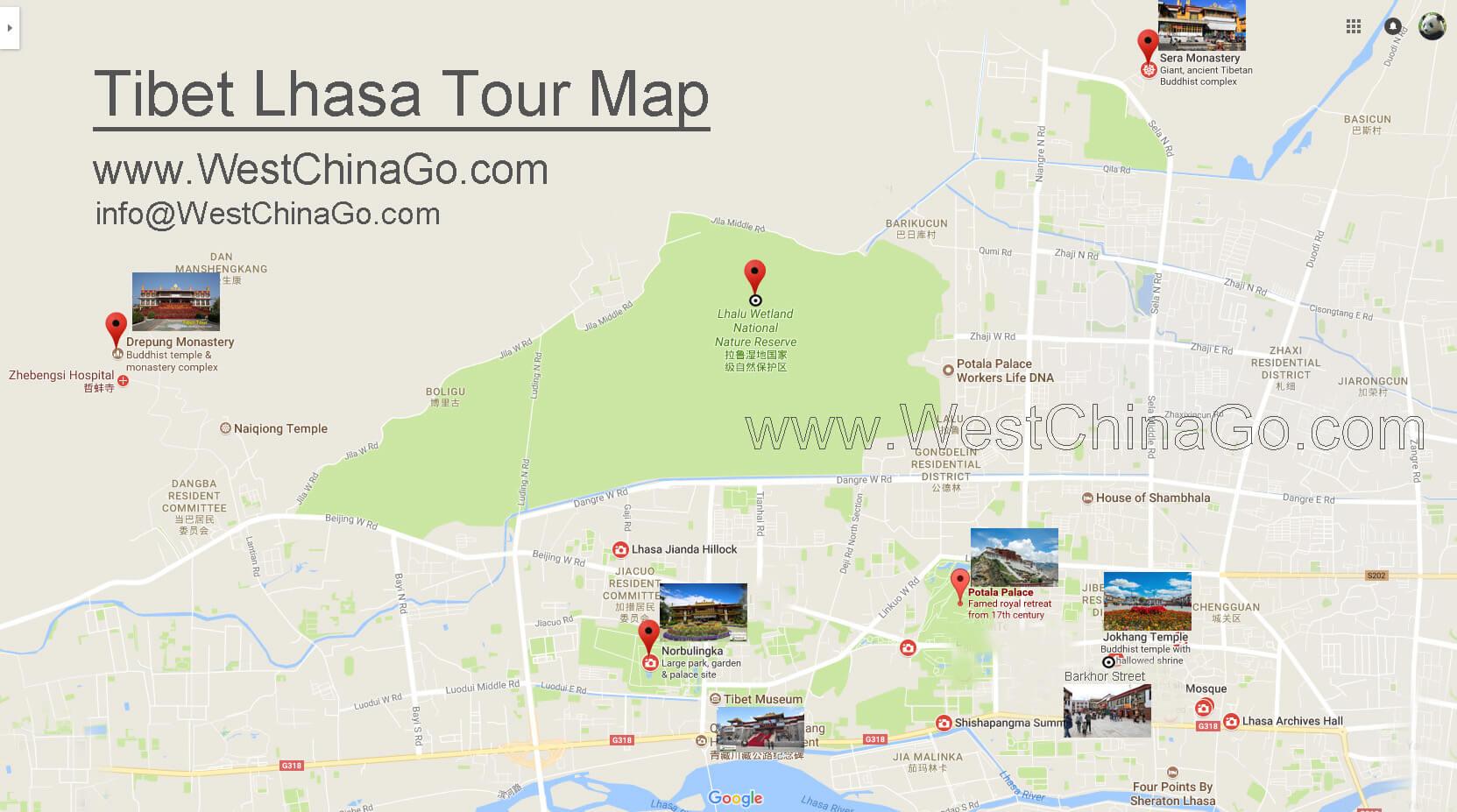 tibet lhasa tour map