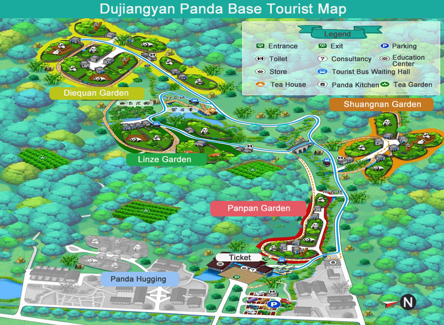 china DuJiangyan Panda Base Tourist Map