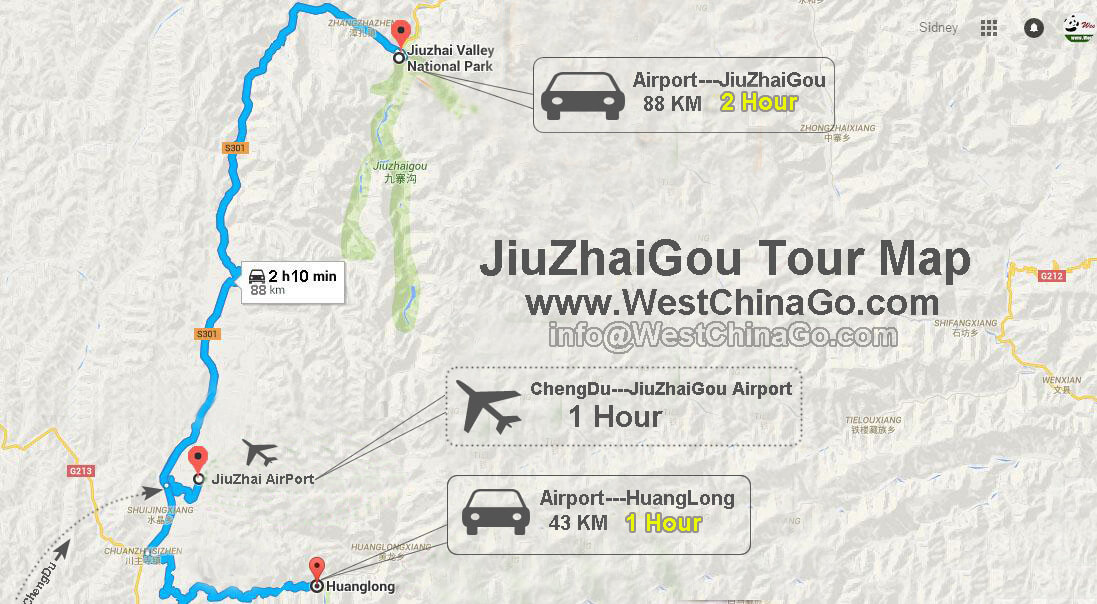 ChengDu jiuzhaigou flight map