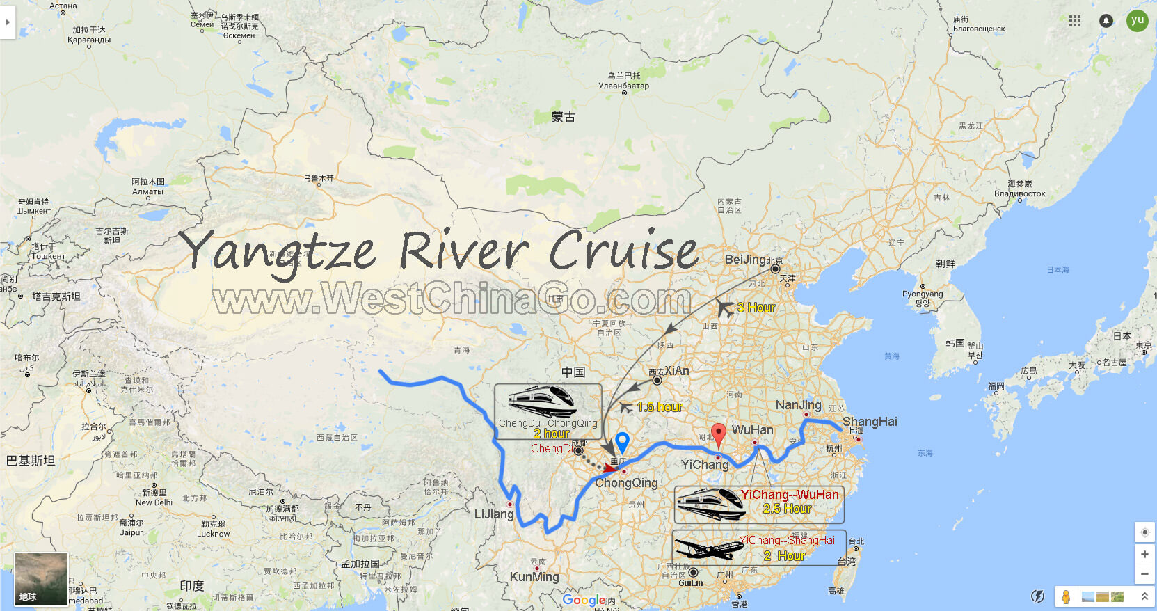 Yangtze river cruise tour map china chengdu panda holdingchengdu china yangtze river cruise publicscrutiny Image collections