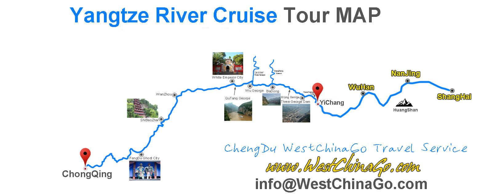yangtze river cruise tour map