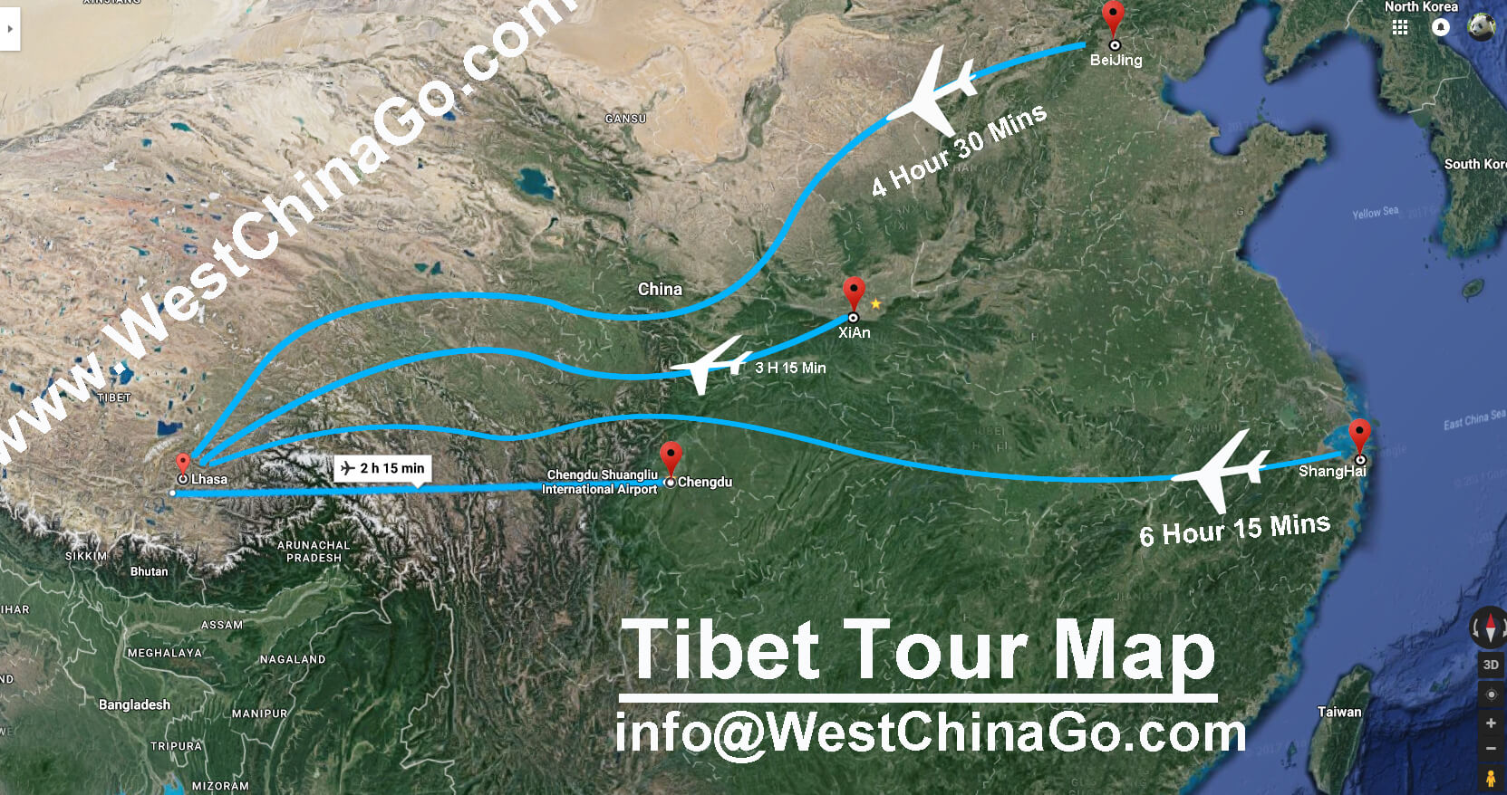 Xigaze Tibet China to Lhasa Tibet China  tour map