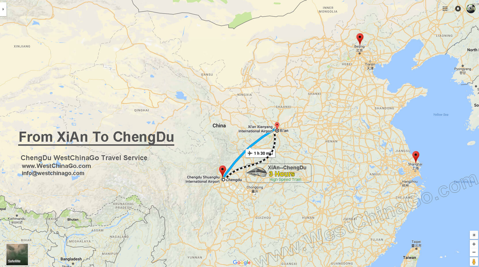From Xian to ChengDu map