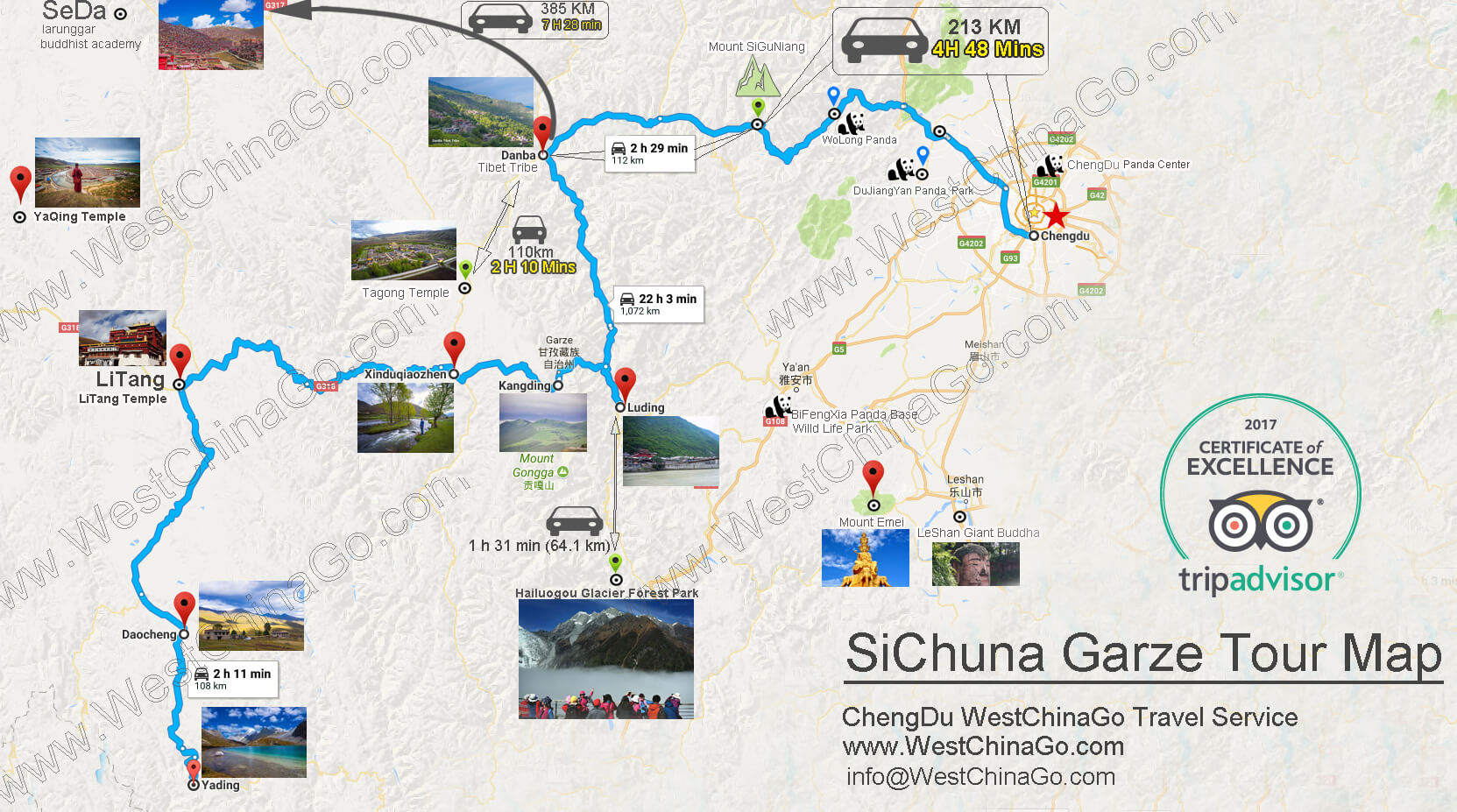 From ChengDu to garze tour map