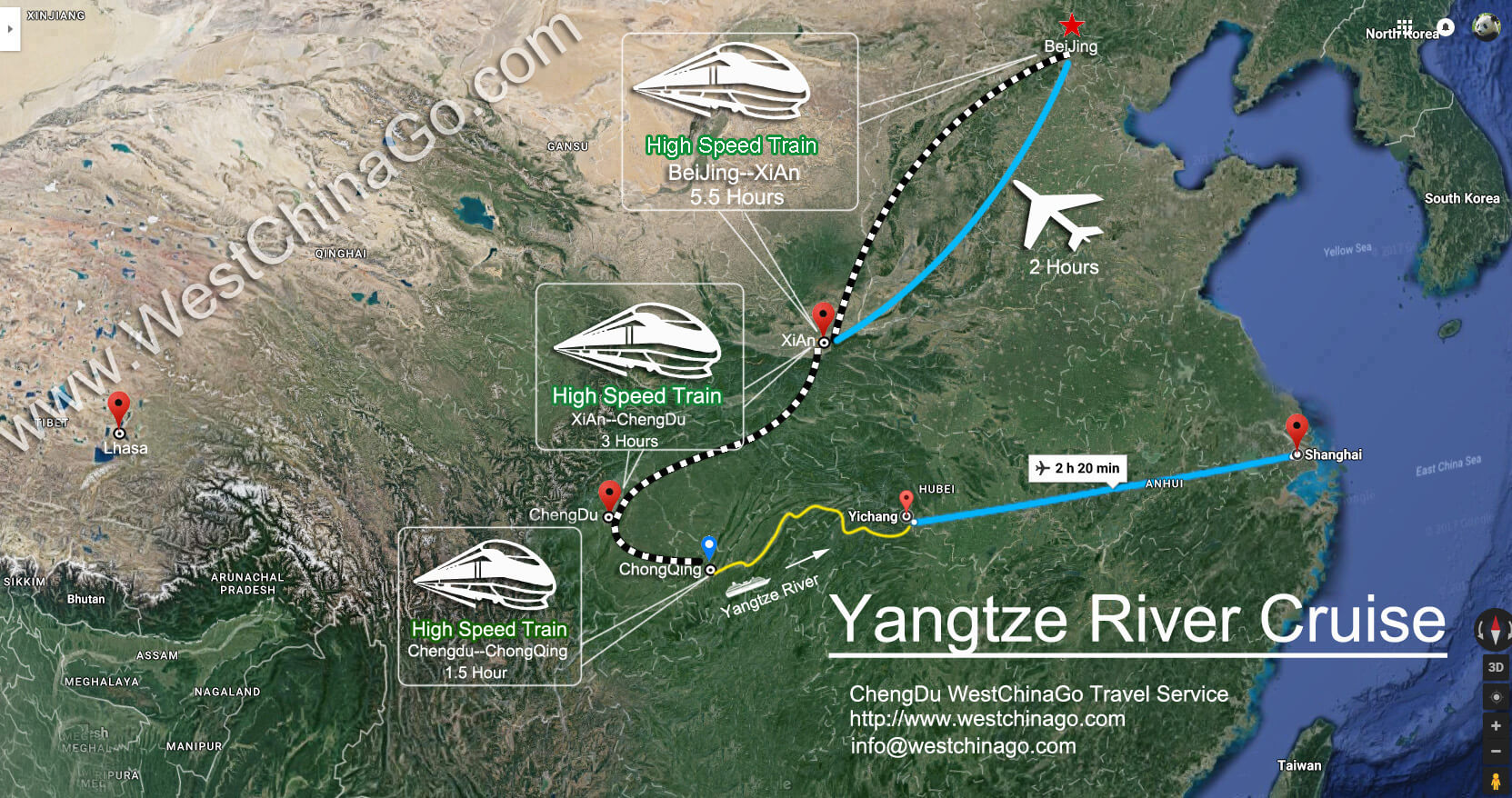 china yangtze river cruise tourist map