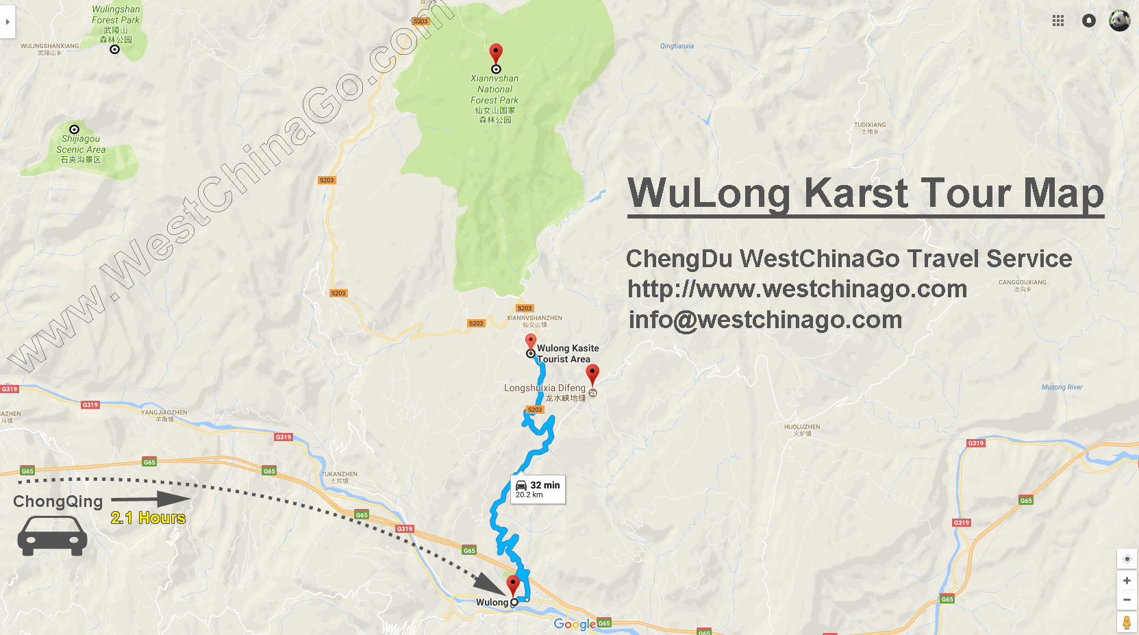 chongqing wulong tour map