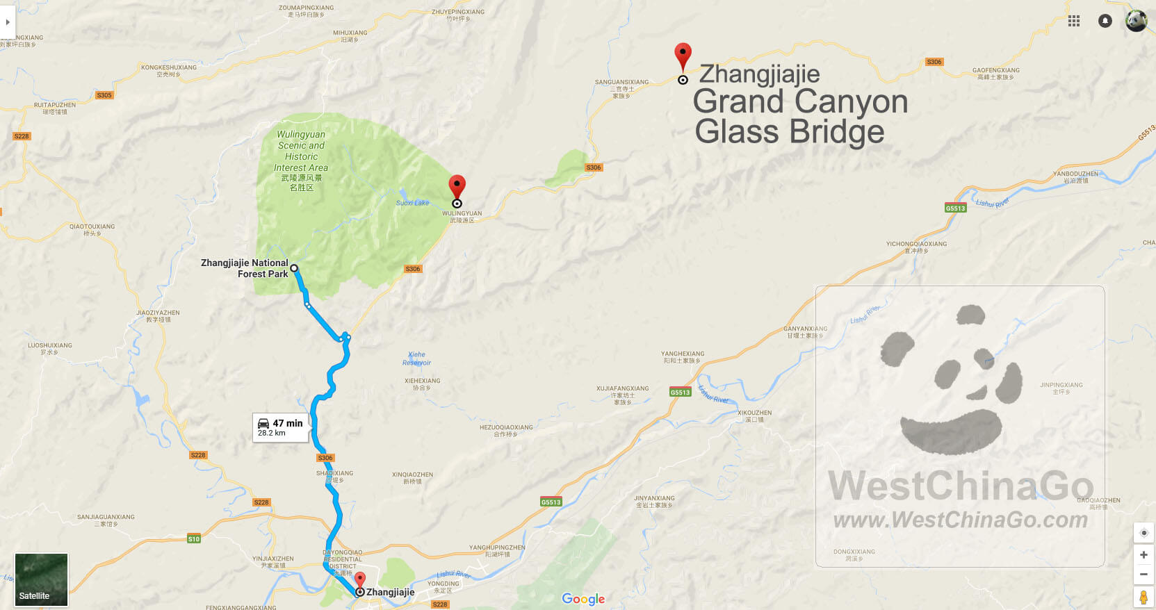 zhangjiajie tour map