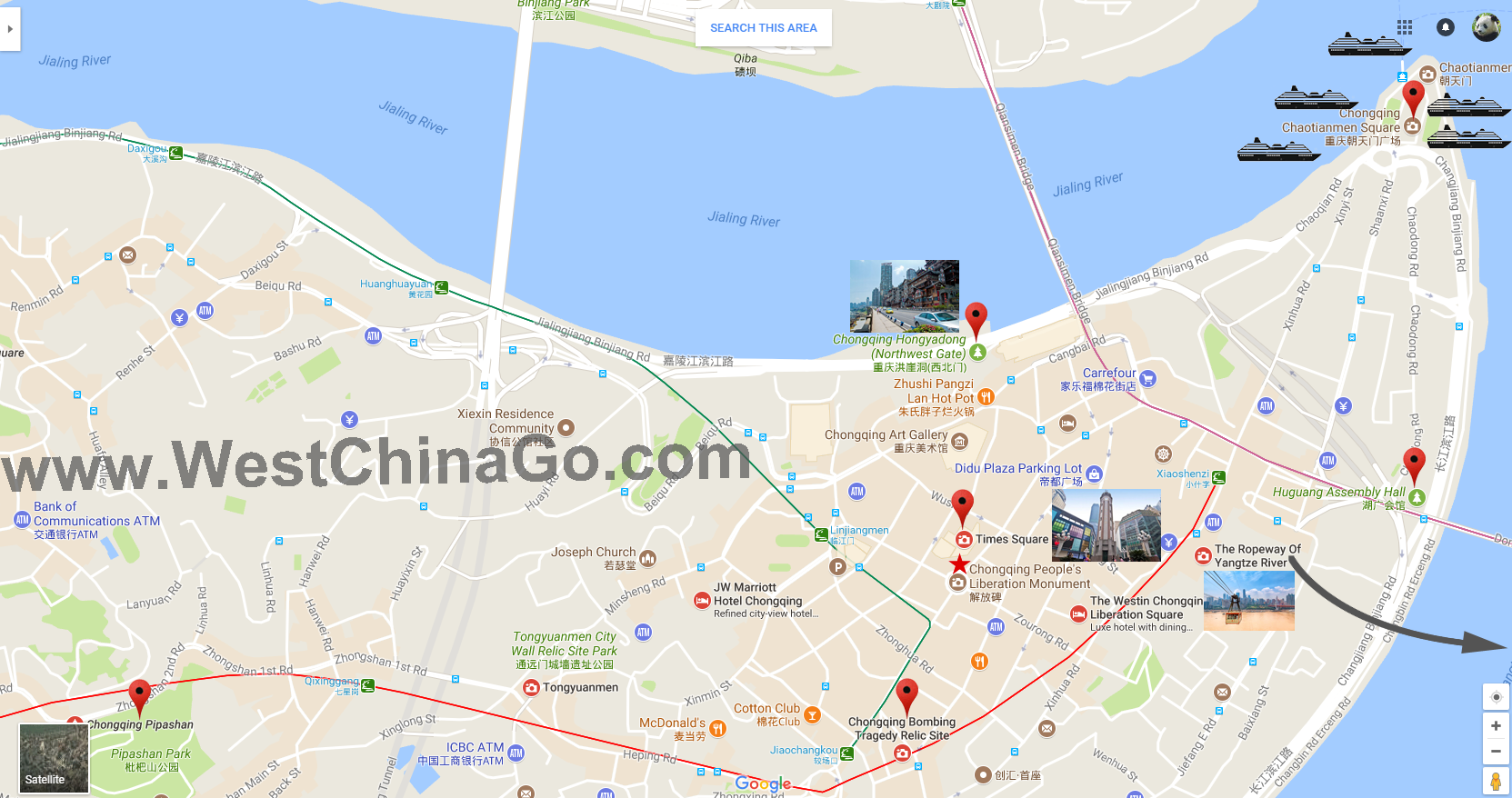 chongqing tour map