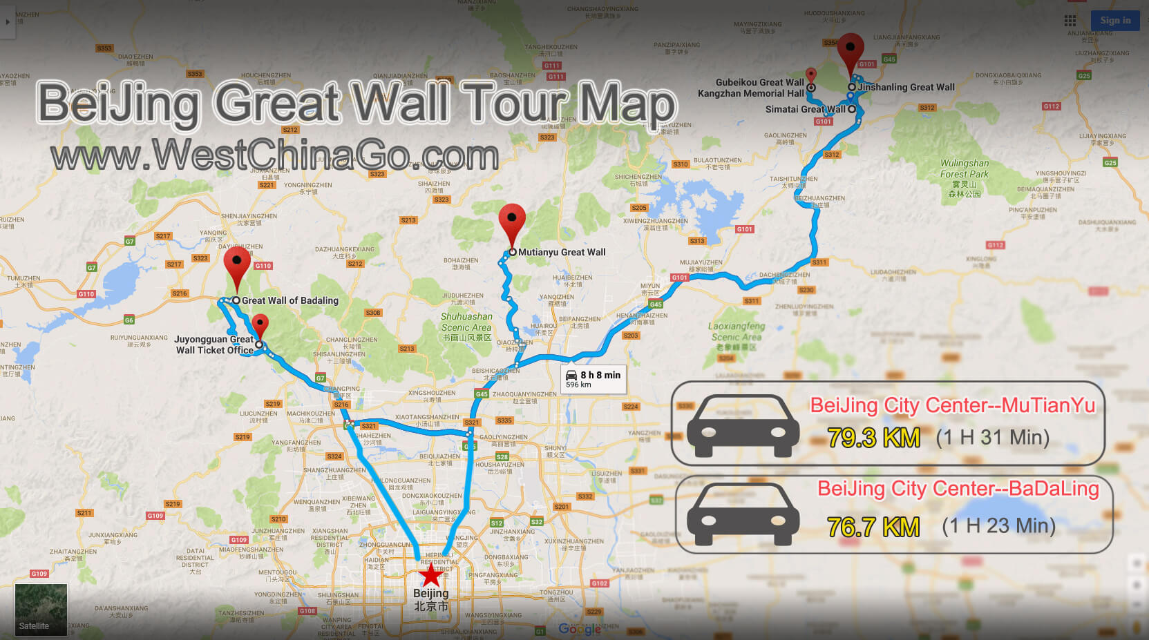 china beijing great wall tour map