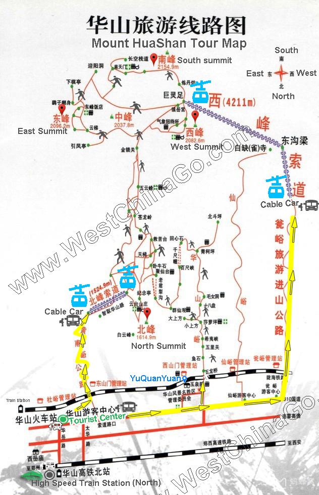 mount hua tour map
