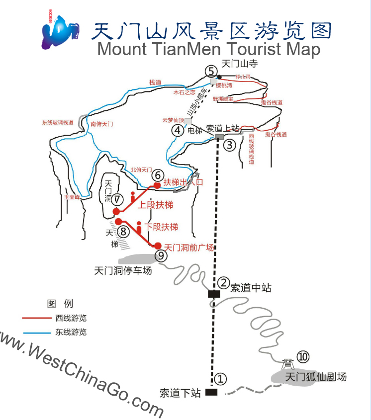 Mount TianMen Tourist Map