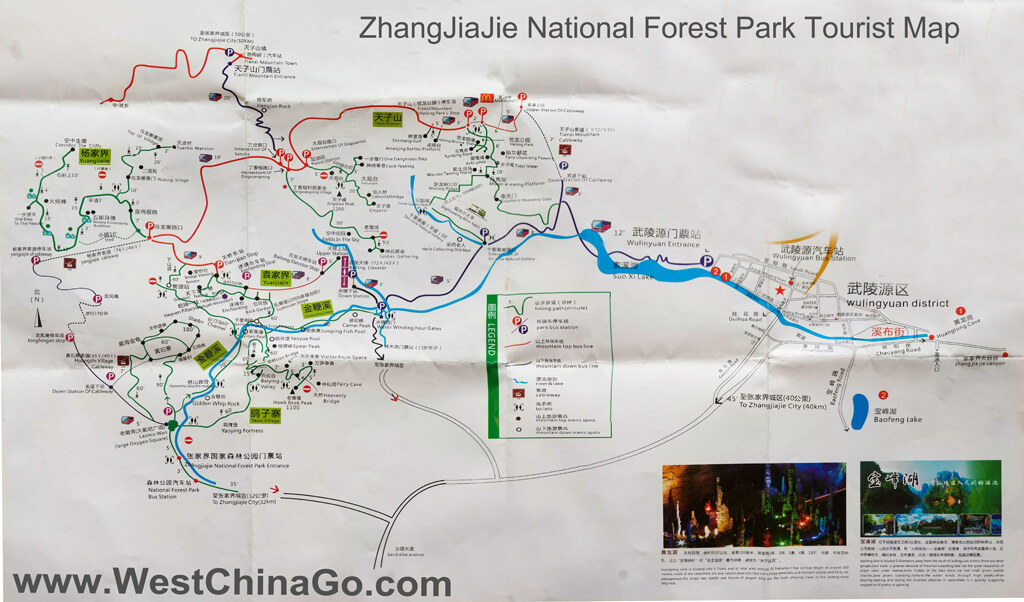zhangjiajie national forest park tourist map
