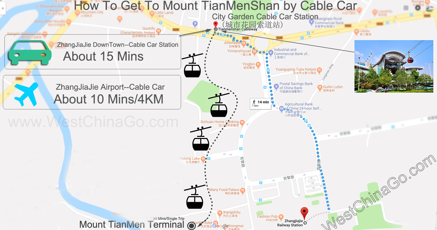 zhangjiajie cable car map