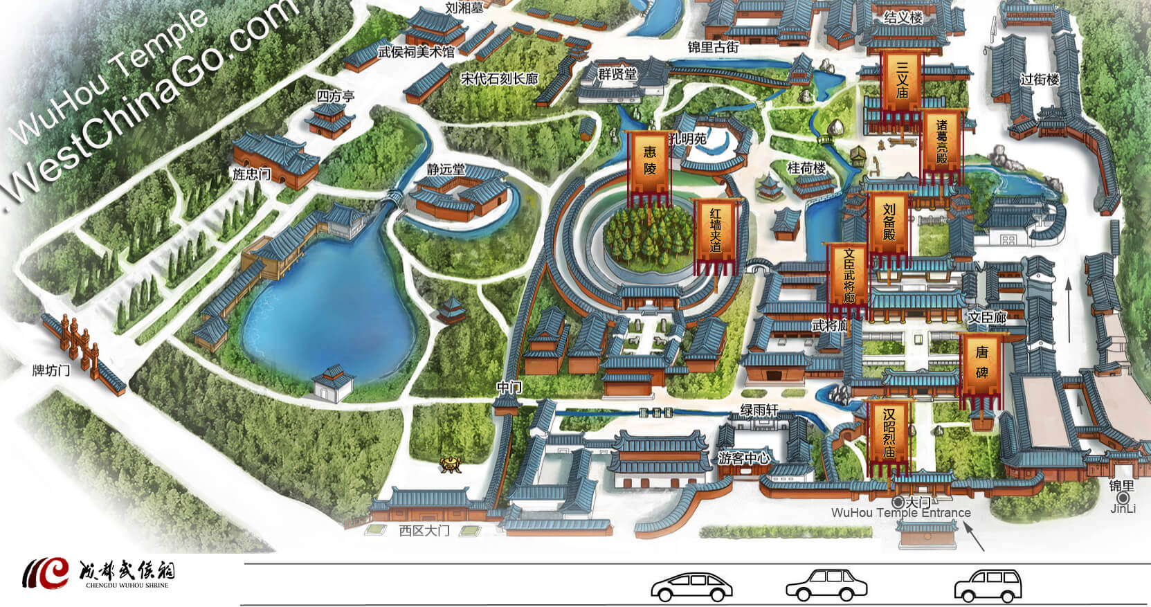 chengdu wuhou temple tourist map