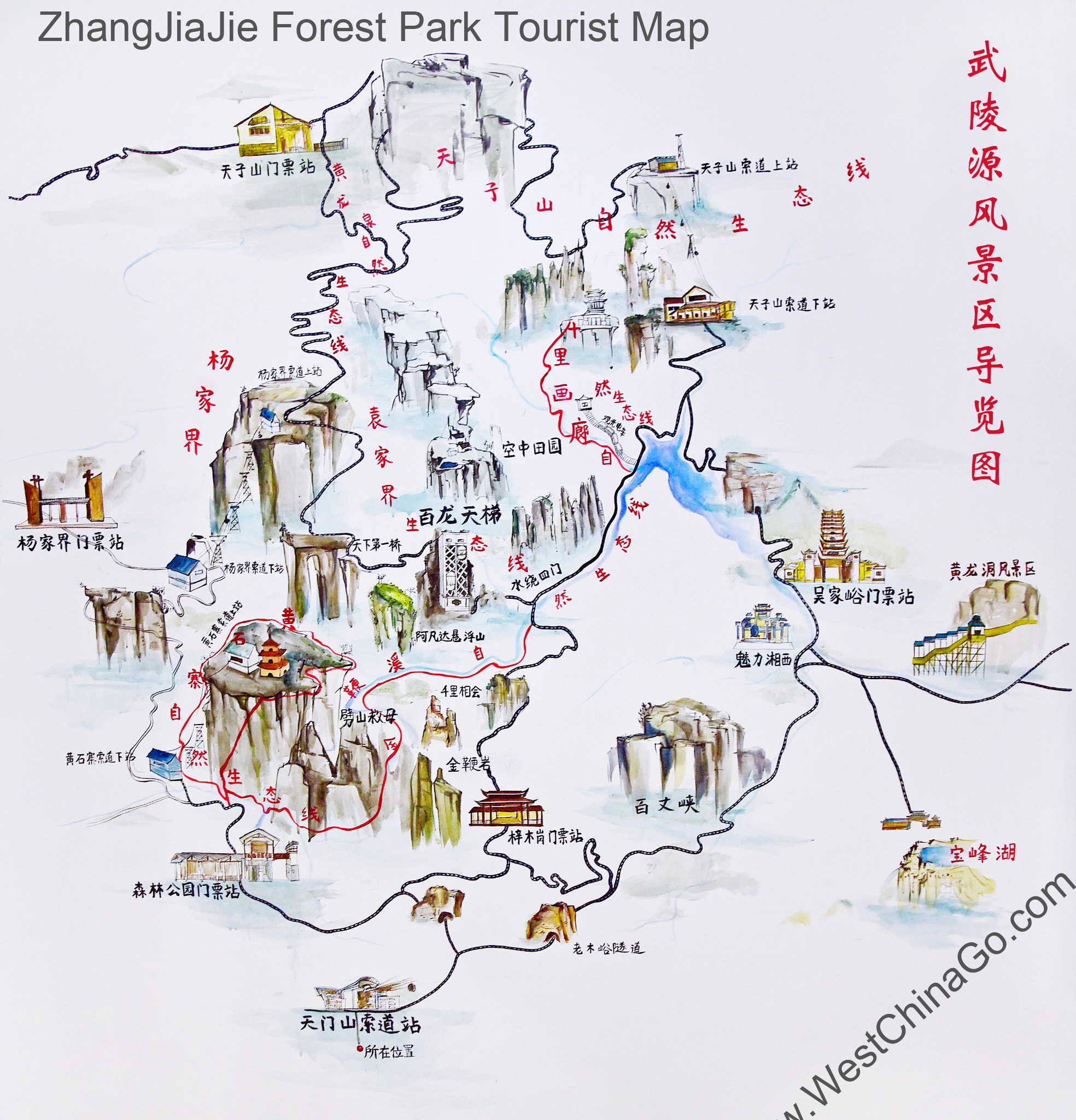 zhangjiajie forest park tourist map