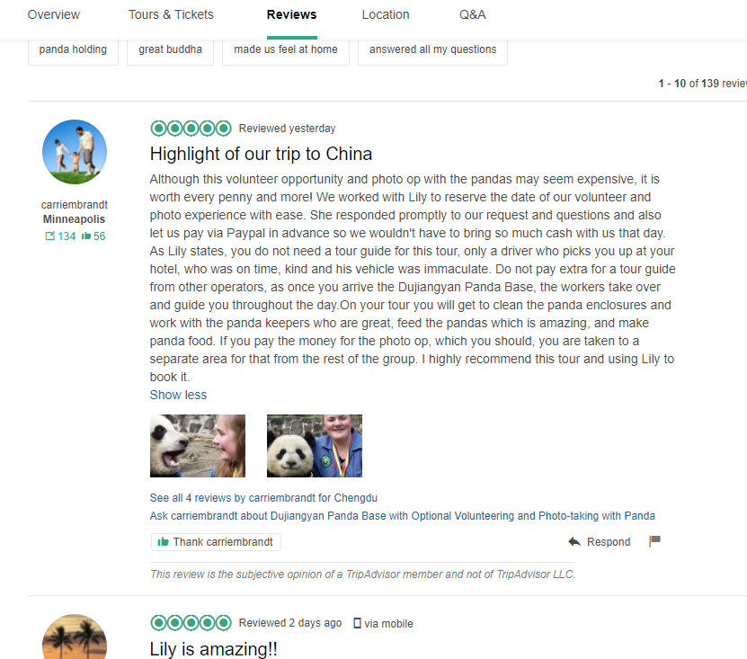 Westchinago TripAdvisor review