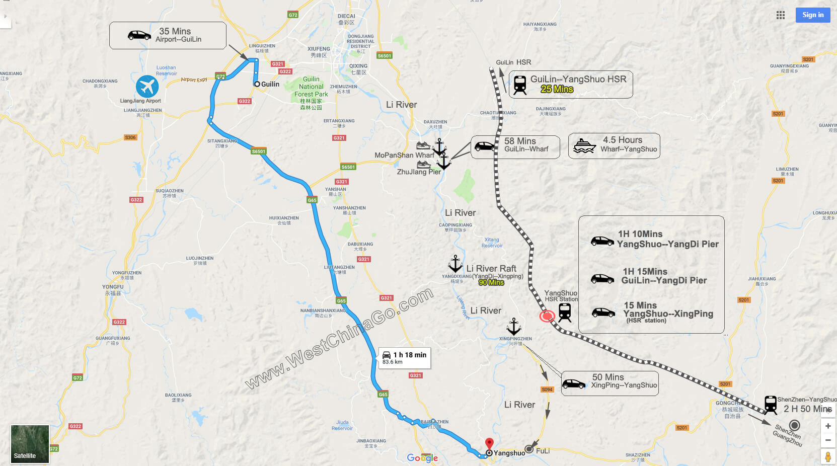 GuiLin to yangshuo tour map