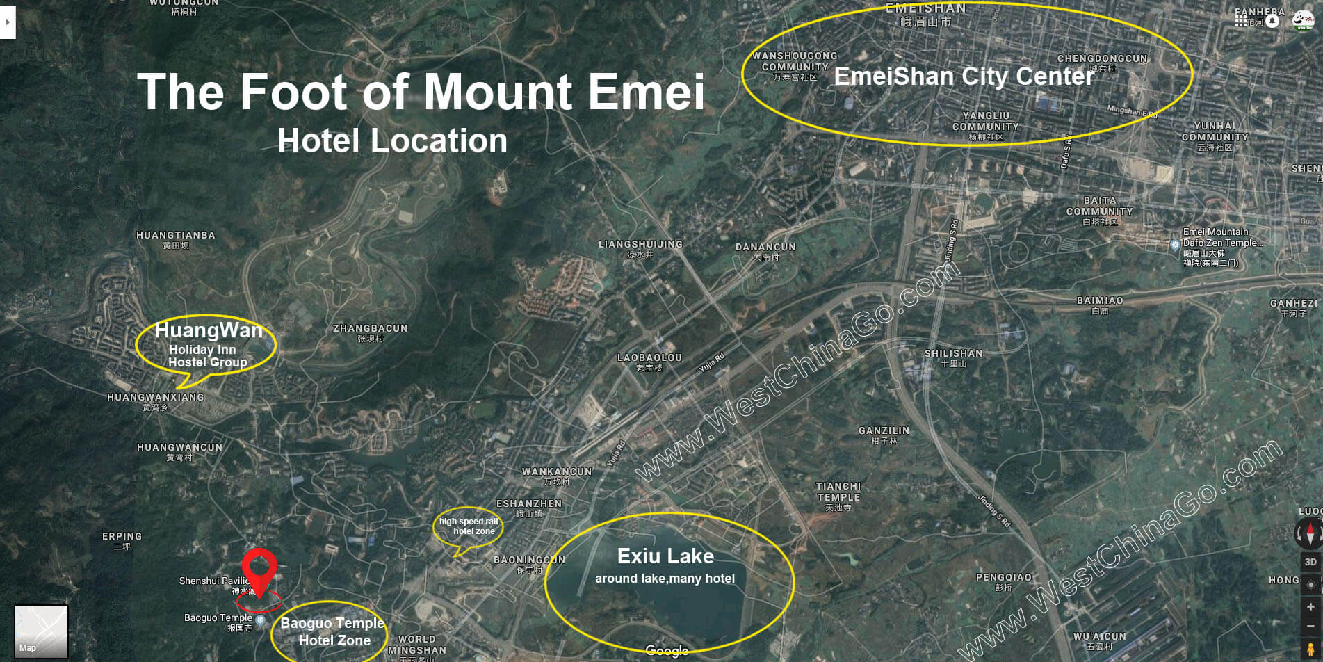 Mountain Emei hotel map