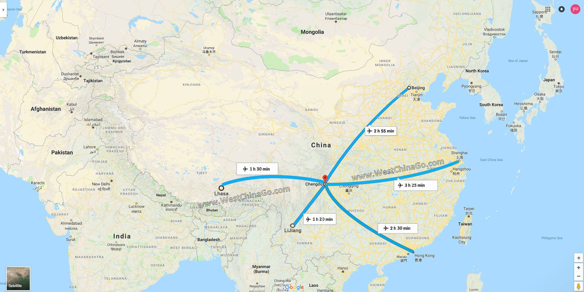 get to ChengDu by flight map