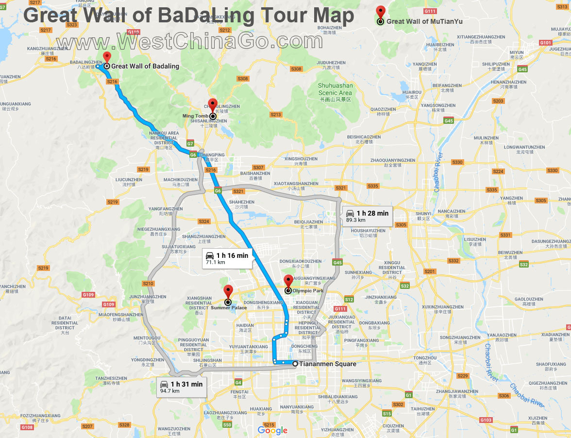 great wall of badaling tor map