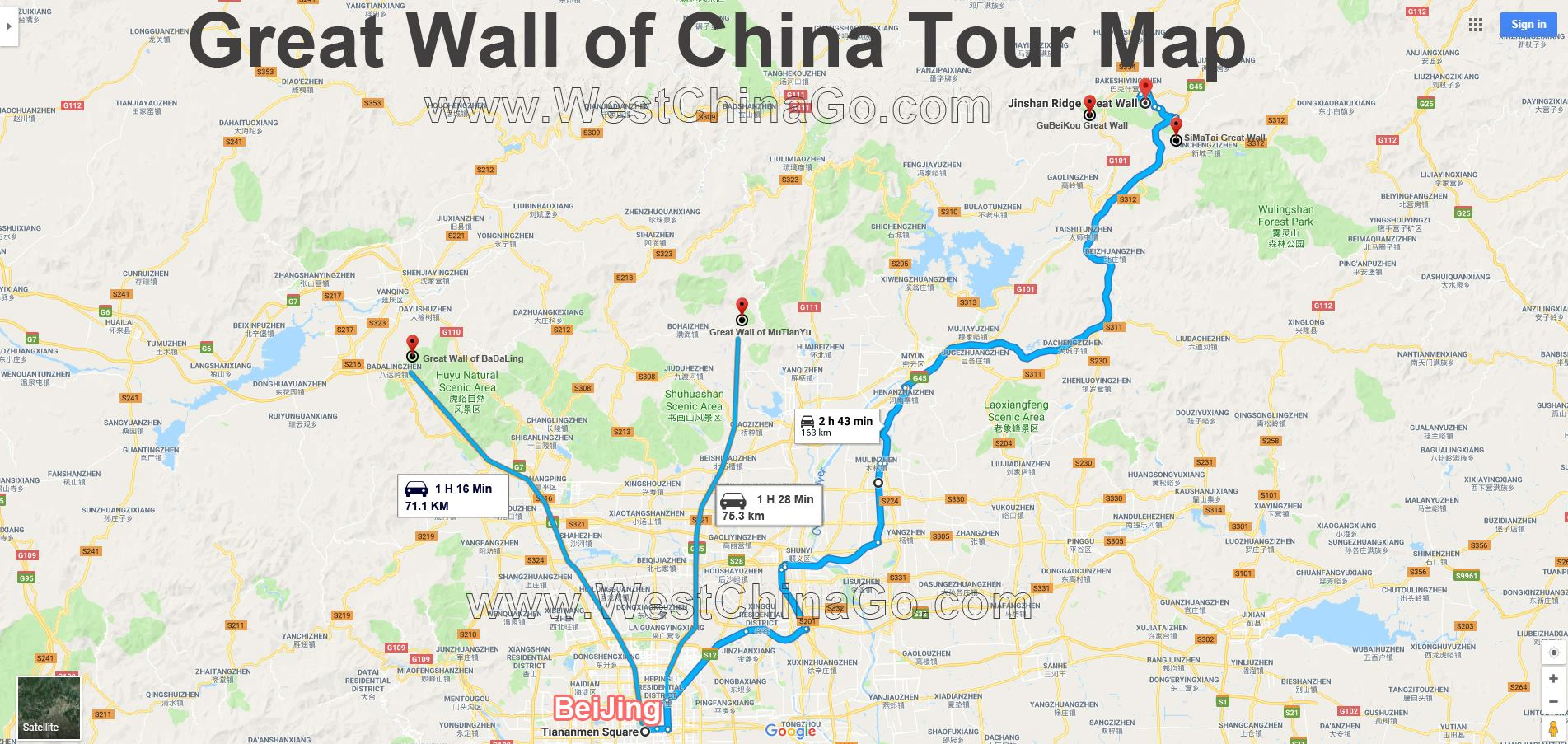 great wall of china toruist map