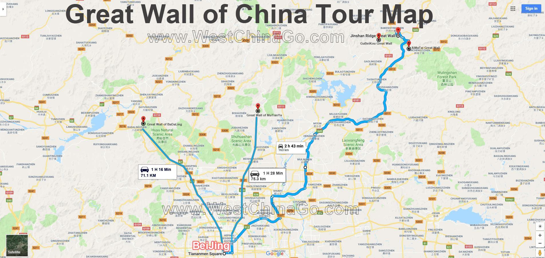 great wall of china toruist map
