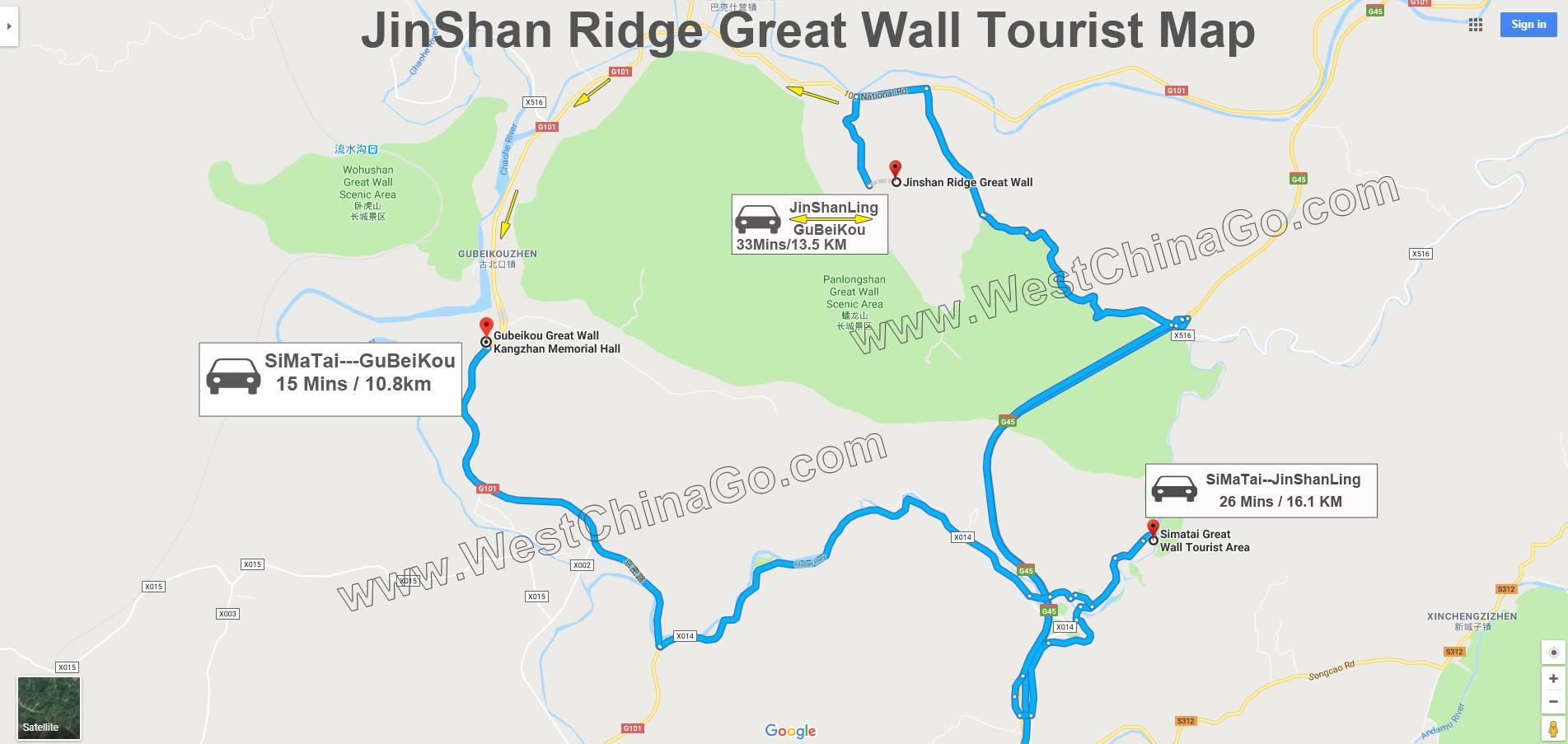 great wall of jinshanling toruist map