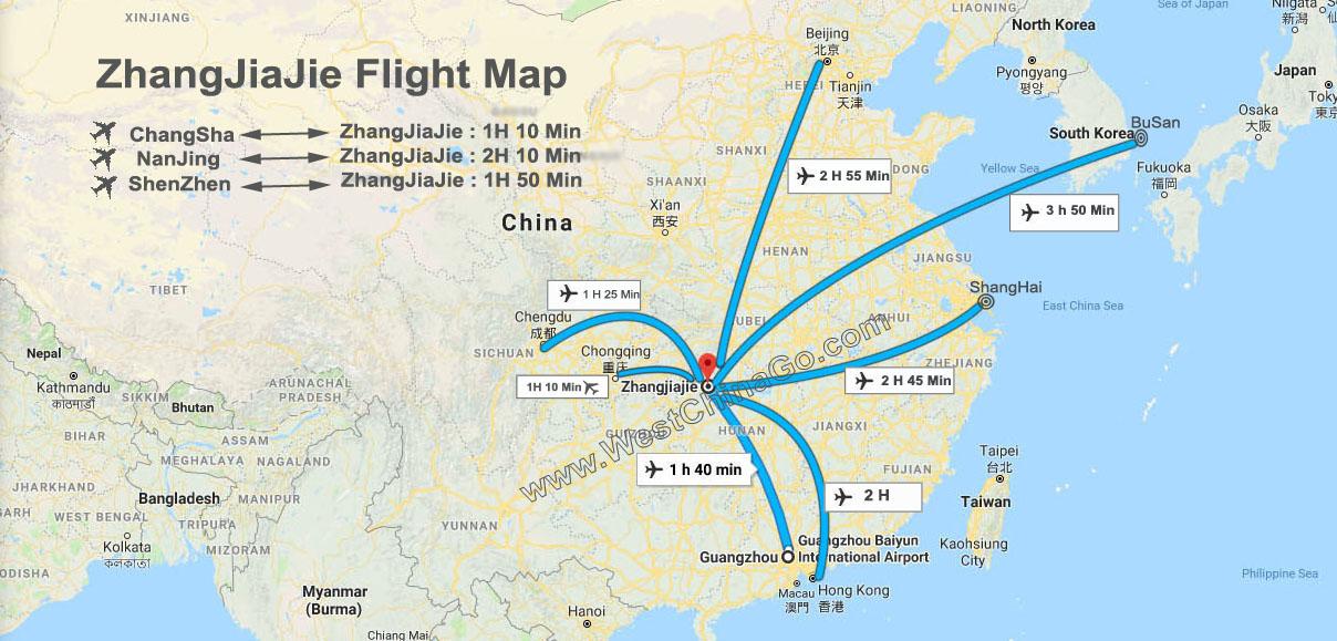 zhangjiajie flight map