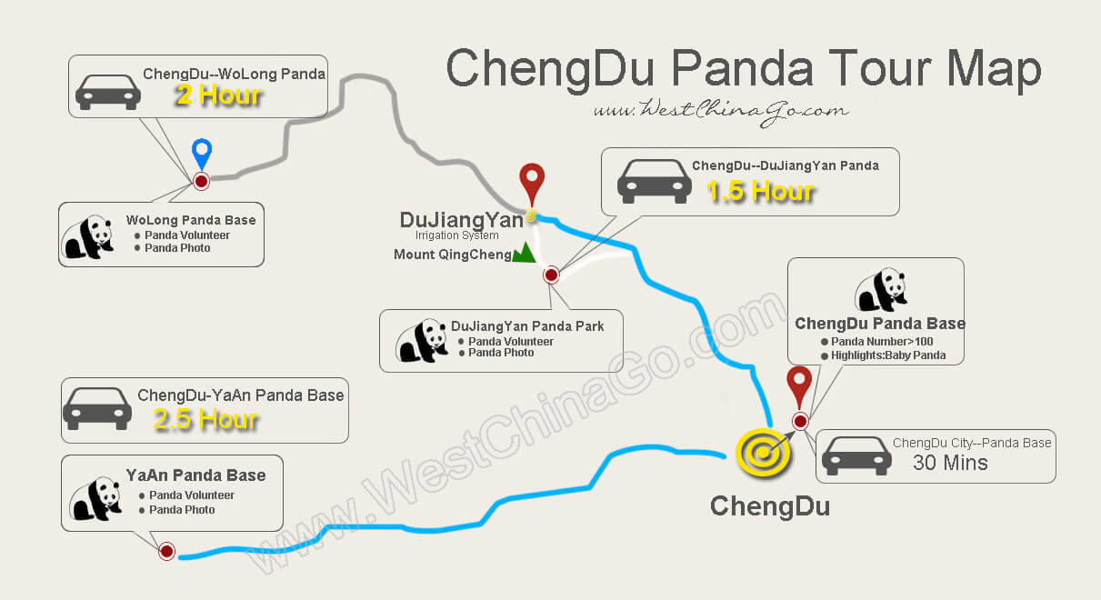 chengdu panda tourist map