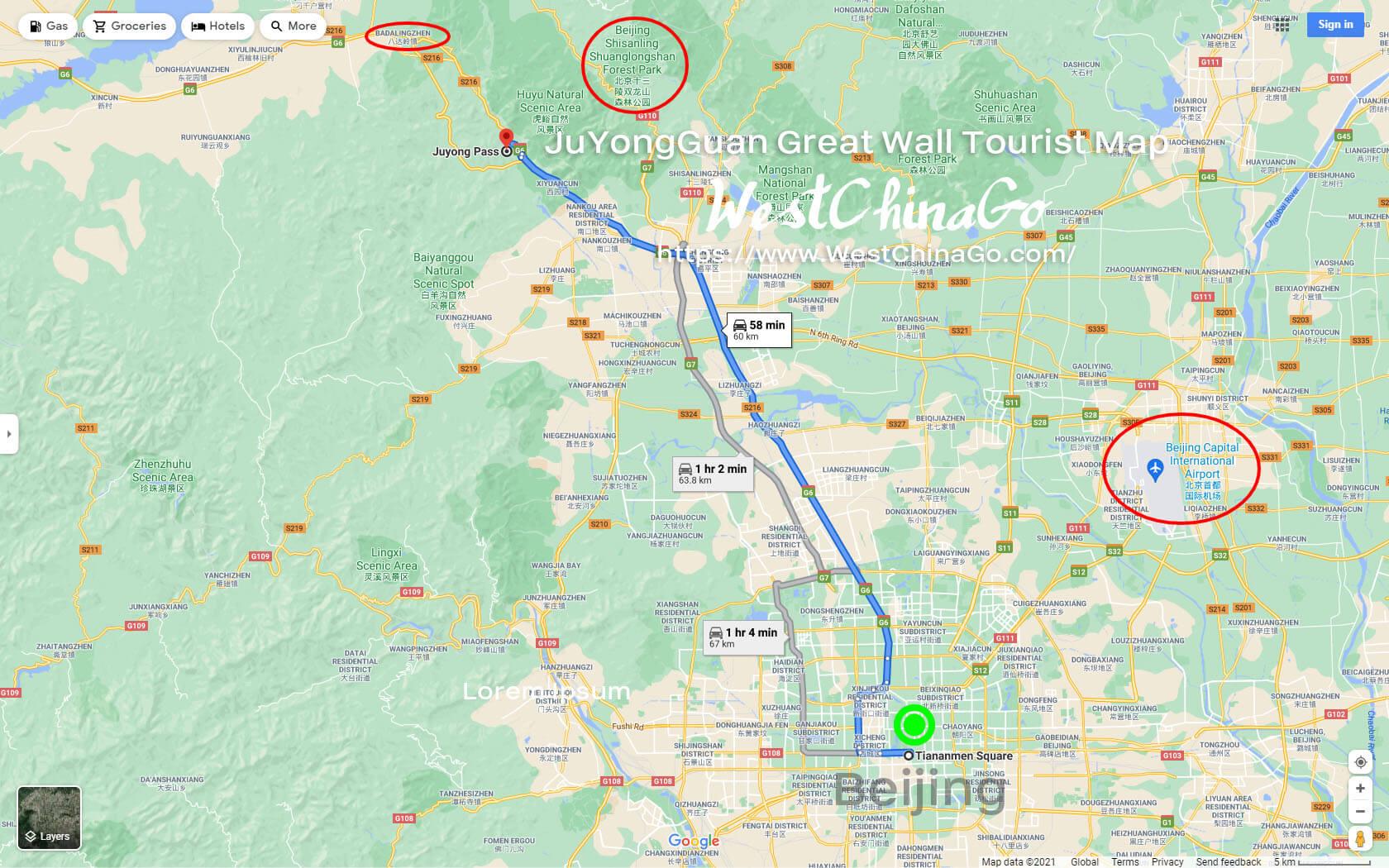 BeiJing JuYongGuan Great Wall tourist map